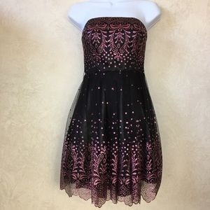 Alyce Paris Black and Pink Strapless Dress Size 00